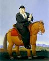 Ботеро - Мужчина на лошади 1998г, картина