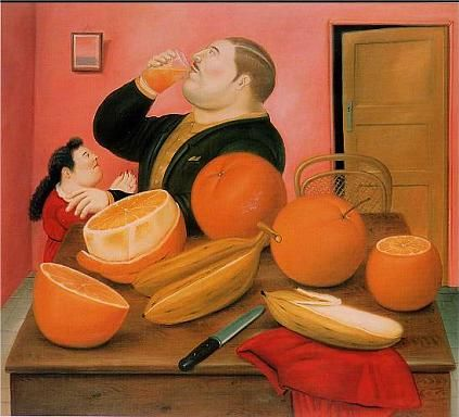 Fernando Botero - Man drinking orange juice 1987, picture